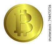 bicoin gold coin icon. vector. | Shutterstock .eps vector #748473736