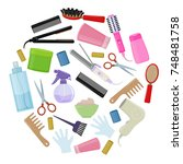 set of colorful equipments for... | Shutterstock . vector #748481758
