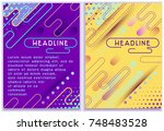 sunny pastel cover set. vector... | Shutterstock .eps vector #748483528
