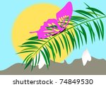 butterfly on branch of the palm | Shutterstock .eps vector #74849530