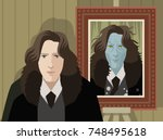 great writer and twisted evil... | Shutterstock .eps vector #748495618
