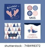 set of artistic creative merry... | Shutterstock .eps vector #748498372