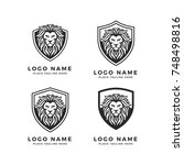 king lion head logo template ... | Shutterstock .eps vector #748498816