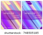 futuristic pastel holographic... | Shutterstock .eps vector #748505185