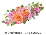 floral background. garland of... | Shutterstock . vector #748515022