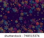 red and blue snow flakes... | Shutterstock .eps vector #748515376