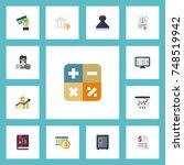 flat icons tactics  algebra ... | Shutterstock .eps vector #748519942