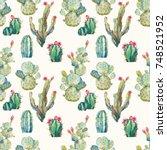 watercolor cactus seamless... | Shutterstock . vector #748521952