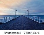 Old Wood Bridge Pier Against...