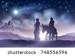 a nativity christmas scene... | Shutterstock .eps vector #748556596