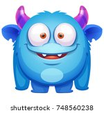 Stock vector cute blue monster 748560238