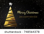 christmas tree golden polygon... | Shutterstock .eps vector #748564378