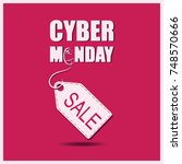 cyber monday. pc mouse and... | Shutterstock .eps vector #748570666