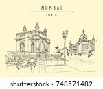 gateway of india and taj mahal... | Shutterstock .eps vector #748571482