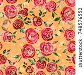 seamless pattern with roses.... | Shutterstock . vector #748576552