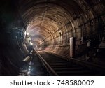 metro tunnel  | Shutterstock . vector #748580002