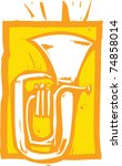 Woodcut Image Of A Tuba On An...