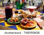 booze party tapas bar still... | Shutterstock . vector #748590838