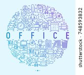 office concept in circle with... | Shutterstock .eps vector #748593832