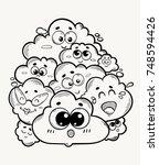 a heap of cheerful clouds  a...   Shutterstock .eps vector #748594426