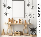 mock up of the christmas... | Shutterstock . vector #748595818
