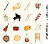 orchestra music instruments... | Shutterstock .eps vector #748596358