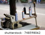 thread tube and  sewing... | Shutterstock . vector #748598062