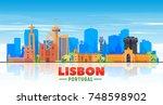 lisbon   portugal   skyline... | Shutterstock .eps vector #748598902