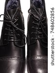 high black winter boots with... | Shutterstock . vector #748602856