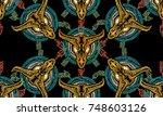 bison skull and crossed arrows...   Shutterstock .eps vector #748603126