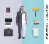 lifelike male dolls comparison... | Shutterstock . vector #748605406