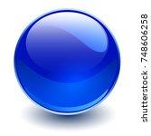 glass sphere  blue vector ball.  | Shutterstock .eps vector #748606258