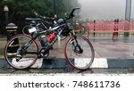 a bicycle is seen at fraser... | Shutterstock . vector #748611736