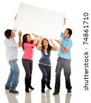 funny group carrying a banner   ... | Shutterstock . vector #74861710