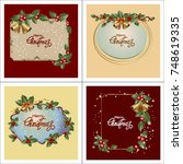 set of christmas greeting cards.... | Shutterstock .eps vector #748619335