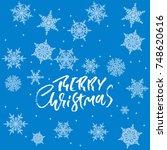merry christmas handwritten... | Shutterstock .eps vector #748620616