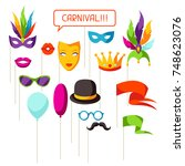 carnival photo booth props.... | Shutterstock .eps vector #748623076