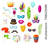 carnival party set of... | Shutterstock .eps vector #748623088