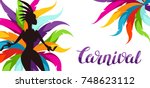 carnival party banner with... | Shutterstock .eps vector #748623112