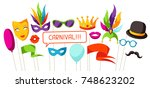 carnival photo booth props.... | Shutterstock .eps vector #748623202
