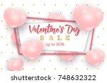 valentine's day sale web banner ... | Shutterstock .eps vector #748632322