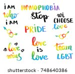 gay pride slogan with hand... | Shutterstock .eps vector #748640386