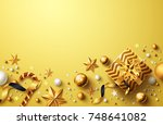 christmas and new years golden... | Shutterstock . vector #748641082