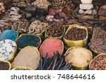 traditional spices bazaar with... | Shutterstock . vector #748644616