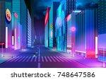 night street with neon lights... | Shutterstock .eps vector #748647586