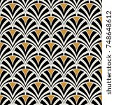 Vintage Art Deco Seamless Pattern. Geometric decorative with circles texture. Retro background. | Shutterstock vector #748648612