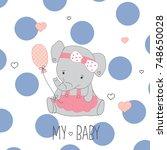 Stock vector cute elephant baby happy birthday card with elephant vector illustration 748650028