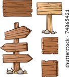 cartoon wooden signs. vector... | Shutterstock .eps vector #74865421