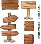 cartoon wooden signs. vector... | Shutterstock .eps vector #74865421