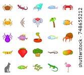 animal kingdom icons set.... | Shutterstock . vector #748655212